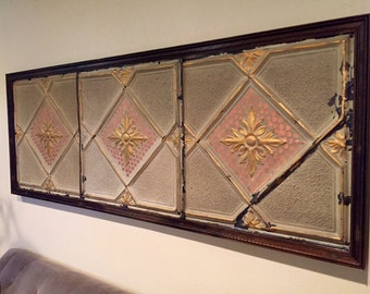 Vintage ceiling tile headboard (king) or wall hanging art panel, authentic ceiling tins
