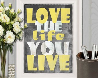 Yellow gray wall art | Etsy