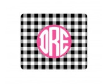Personalized Black Gingham Mouse Pad
