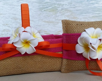 Tropical Basket & Pillow - Your choice of ribbon color - Plumeria Tropical Beach Destination Wedding Hawaiian Hawaii