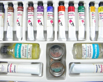 Vintage 1980's Rowney Complete Oil Painting Outfit Boxed Set
