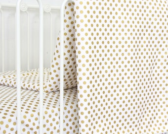 Metallic Gold Dot Baby Blanket | Gold and White Crib Blanket