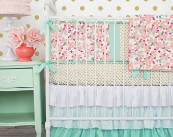 Mint and Mini Floral Baby Bedding | Girl Crib Set in Coral, Peach, Mint, and Gold | Mint, Gold, Coral, and Floral Baby Bumpers | Gold Dot