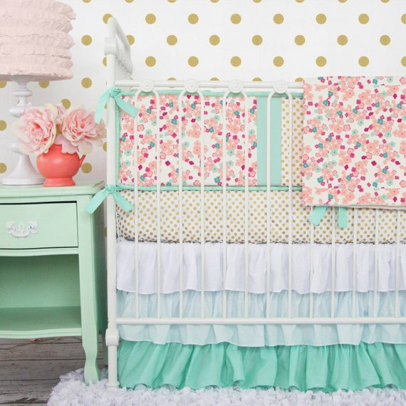 Mint & Floral Mini Crib Set by CadenLaneBabyBedding