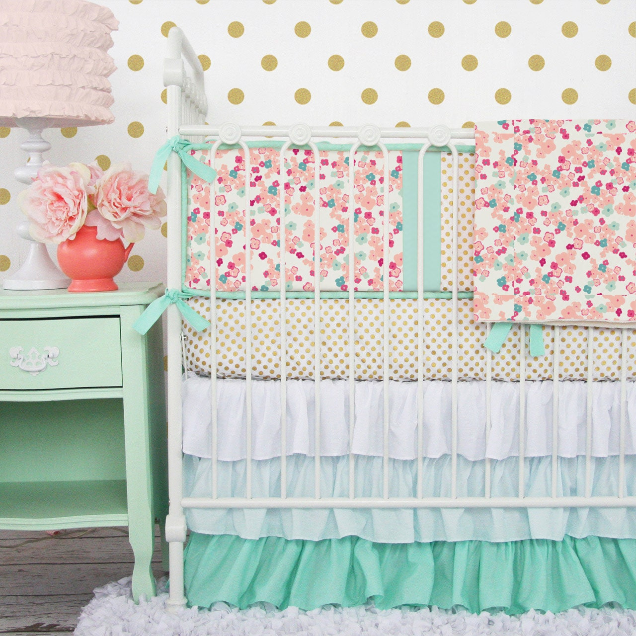 Mint And Mini Floral Baby Bedding Girl Crib Set In Coral