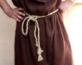 Hemp rope belt for medieval costume, primitive rough rustic vintage rope for Flintstones carnival costume