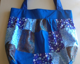 Handmade Blue Patchwork Shoulder Bag