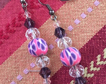 Purple, pink and clear earrings