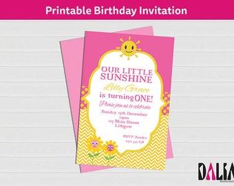 4 x 6 inch Little Sunshine Invitation - 1st Birthday Invitation - Pink and Yellow Invitation - Sunshine Party - Printable Invitation!