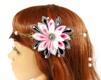 Headband / necklace flower / wedding kanzashi - Japanese flower and beads