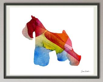 miniature schnauzer dog art print watercolor print poster painting wall art silhouette , dog wall art