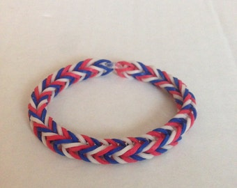 Red, White, and Blue Rubber Band Bracelet - Rainbow Loom