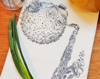 Tea Towel - Screen Printed - Organic Cotton Towel - Perfect for Dishes - Blow Fish Playing Saxophone Design - Nautical Theme