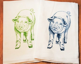 Pig Tea Towel Set of 2 - Screen Printed Cotton Flour Sack Material - Teal and Green Pigs - Mothers Day Gift