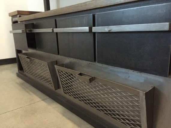 OFFICE: Modern Industrial Office Credenza And Shelving Unit
