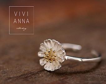 925 Silver Daisy Ring   R093