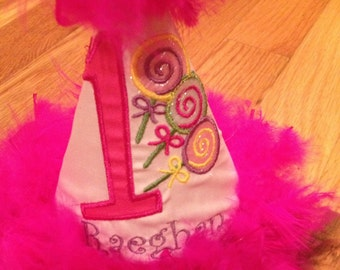 1st Birthday Party Hat Candland lollipops photo prop