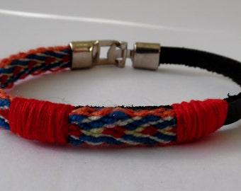 Bracelet for men, genuine leather and indigenous fabric/ ethnic/ tribal/boho/bohemian/ trendy/ Men Big
