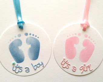 5 Large Circle Handmade Baby Feet Baby Gift Tags for Presents, Thank you Gifts, Baby Shower or Nappy Cakes