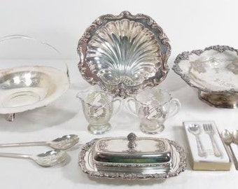 Silver on Glass Serving Pieces