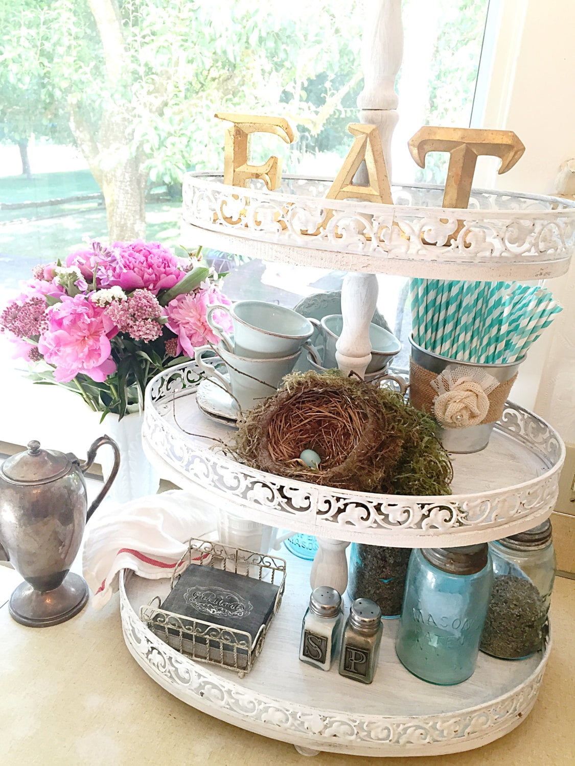 3 Home Decor Trends For Spring Brittany Stager: 3 Tiered Serving Tray White Painted Kitchen Stand Home Decor