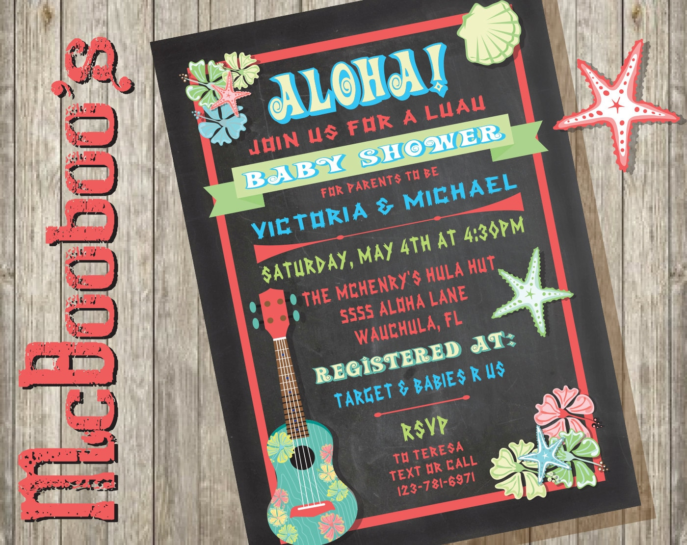 chalkboard luau hawaiian baby shower invitations