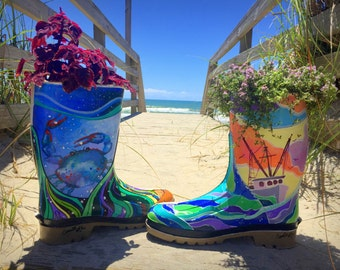 Hand-painted ONE-OF-A-KIND Upcycled Rubber Boot Planters! Indoor or Outdoor Use!