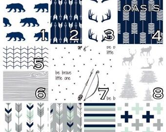 Custom Crib Bedding Navy & Gray Rustic Woodland Bear Deer. Choose crib sheet, skirt, bumpers, changing cover, pillow, valance.