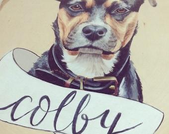 custom hand-drawn pet portrait on wood slice