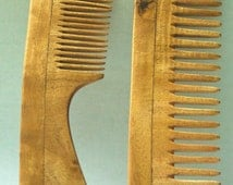 2 Pcs. Natural Handcrafted Neem Wood Comb Hair Massage No Static Healthy Hair Reduces Hairfall Dandruff Eco-friendly- Great for Scalp