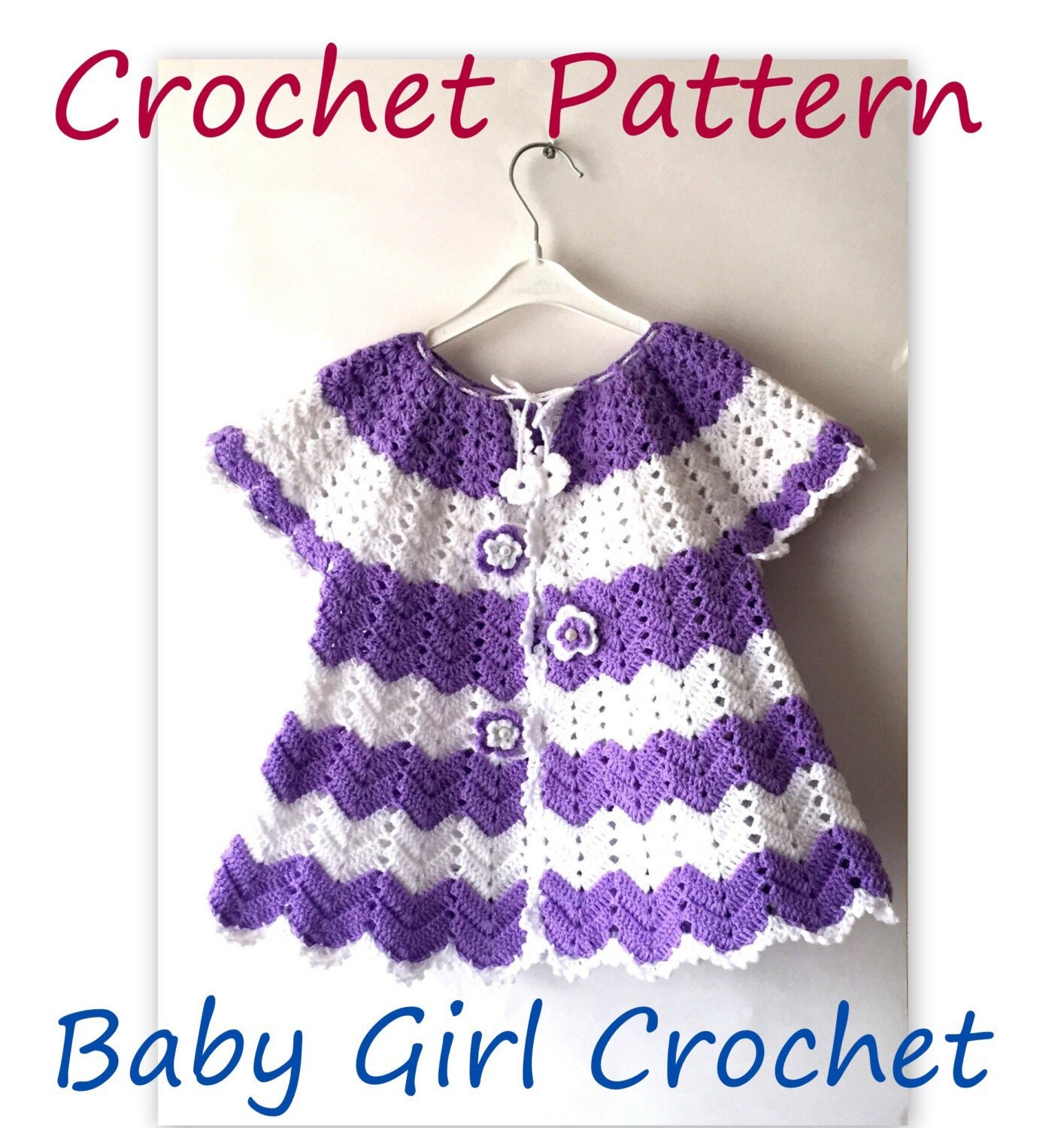 Crochet Jacket PATTERN Baby Girl Spring Chevron Crochet