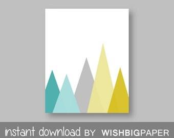 30%OFF! Aqua Gray Mustard Mountain Wall Art Print - Instant Download - Aqua and Gray, Aqua and Mustard, Gray and Mustard, Mountain Art, Grey