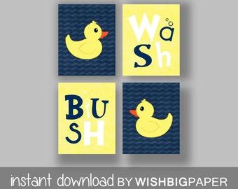 Rubber Duck Wash Brush Bathroom Wall Art Prints  Set Of Four (4)
