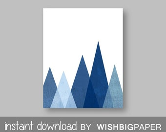 Blue Mountain Wall Art Print - Instant Download-Blue Printable Art. Blue Mountain Print, Modern Decor. Monochrome Triangle Mountain
