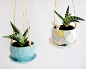 Blue or Multicolor  Faceted Hanging Planter with Drainage Plate. Succulent Hanging Planter. Cactus Planter, Air Plant Planter. Made To Order
