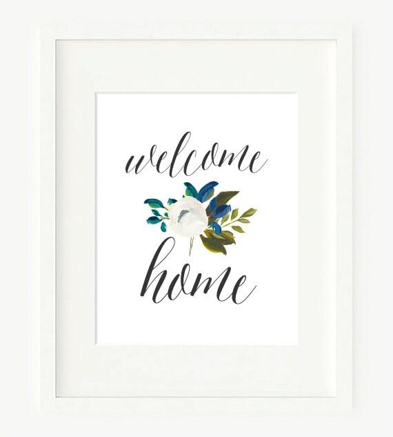 Welcome home calligraphy wall art printable print
