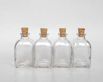 Small square clear glass bottles set (4), 4 small glass bottles with cork, 3.4 oz, 100 ml, small glass vase, DIY gift, wedding party favor