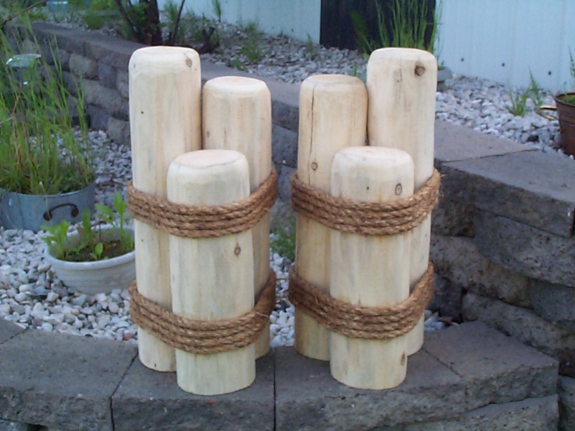 2 wooden pilings lawn or pier dock ornaments nautical outdoor for Wooden garden decorations