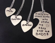 There are these girls who stole my Heart they call me daddy - father's day-Personalized Handstamped Daddy daughter necklace -  father's day