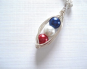 Celebration Peapod, Patriotic Peapod, 4th Of July, Declaration of Independence, Patriotic Jewelry, Red White Blue, Americana Peapod, Peapod