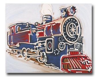 train wall art- transportation decor- art for boys- nursery decor- choo choo-unique hand painted canvas- baby gift