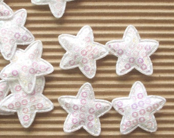 6 white sequined padded star appliques - bow centers