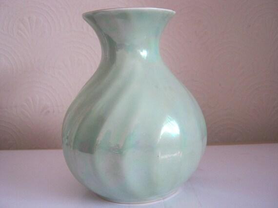 Vintage Sadler Vase In Turquoise  Green Lustre b