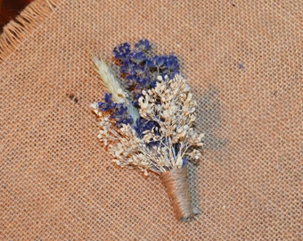 Wedding Boutonniere of English lavender and Ivory flowers with Blonde Wheat  - Custom Made to Order