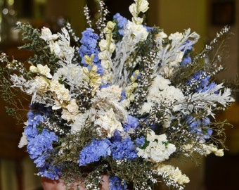 Wedding Bouquet,  Dried Flower Bouquet, Wildflower Bouquet,  Blue Wedding Bouquet, Dried Flower Bouquet - Can Be Made to Order