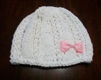 Baby Hat Newborn Girl, Newborn Knitted Baby Hat, White Baby Photo Prop,  Baby Girl Summer Beanie, Baby hospital Hat, White Cotton Summer Hat
