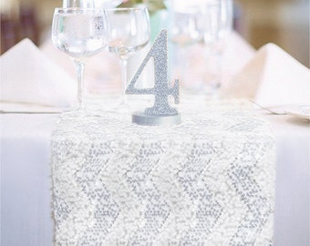 Chevron Silver and White Sequin Table Runner READY TO SHIP Sparkly Chevron White & Sterling Silver Sequin Runner for Party Event Table Decor