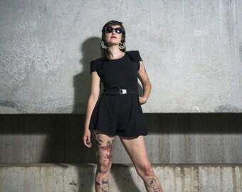 Mini black Combishort shouldered, open back size XS/S/M