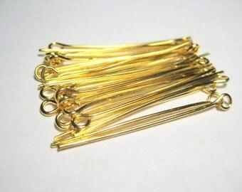 100pcs Gold Plated Eye Pins 35mm '21ga (No.662)