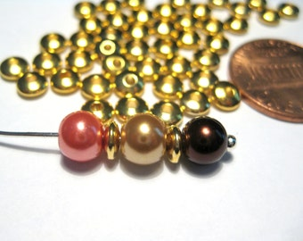 Rondelle Abacus Spacers Bead Gold Tone 5mm  Metal Beads